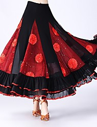 cheap -Ballroom Dance Bottoms Women's Performance Tulle Scattered Bead Floral Motif Style / Ruching / Split Joint Natural Skirts