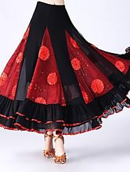 economico -Balli da sala Pantaloni Per donna Prestazioni Tulle Motivo floreale di perle / Con ruche / Più materiali Naturale Gonne
