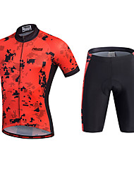 cheap -21Grams Men's Short Sleeve Cycling Jersey with Shorts - Black Bike Shorts / Jersey / Clothing Suit, 3D Pad, Quick Dry, Breathable Polyester, Silicon / Stretchy / Reflective Strips / Sweat-wicking