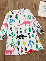 Недорогие -Дети Девочки Тропический лист Цветочный принт Длинный рукав Платье
