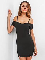 cheap -Women's Slim Bodycon / Little Black Dress - Solid Colored Strap