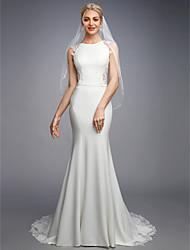 baratos -Sereia Bateau Neck Cauda Corte Chiffon / Renda Vestidos de casamento feitos à medida com Apliques / Botões / Renda de LAN TING BRIDE® / Pretíssimos