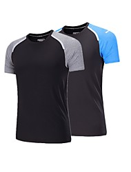 cheap -BARBOK Men's Running Baselayer - Blue, Grey Sports Patchwork Tee / T-shirt Yoga, Exercise & Fitness, Multisport Short Sleeve Activewear Lightweight, Quick Dry, Breathability
