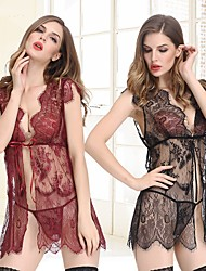 cheap -Women's Gartered Lingerie / Garters & Suspenders / Matching Bralettes Nightwear - Lace / Split / Print, Floral / Jacquard / Embroidered