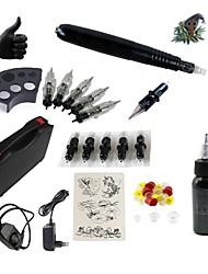 abordables -Máquina de tatuaje Equipo para Principiantes - 1 pcs máquinas de tatuaje con 1 x 30 ml tintas de tatuaje, Silencio, Ajustable, Carga rápida Aluminiumlegierung Enchufe de Alimentación Funda Incluida