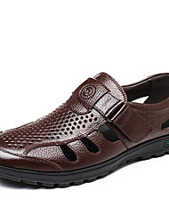 Недорогие -Муж. Кожа Лето Удобная обувь Мокасины и Свитер Черный / Коричневый