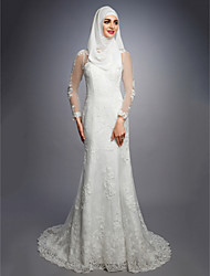 cheap -A-Line Jewel Neck Court Train Lace / Satin / Tulle Made-To-Measure Wedding Dresses with by LAN TING BRIDE®