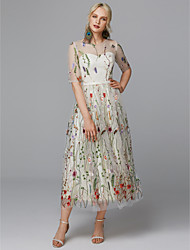 cheap -Bohemian Style A-Line Illusion Neck Ankle Length Lace / Tulle Cocktail Party / Prom Dress with Embroidery by TS Couture®
