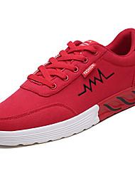 Mujer Zapatos Tela / PU Primavera verano Confort Zapatillas de deporte Paseo Tacón Plano Dedo Puntiagudo Negro / Rojo / Azul / Eslogan VwiqouHO