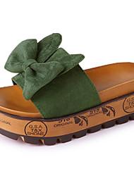 baratos -Mulheres Sapatos Camurça / Couro Ecológico Verão Chanel Chinelos e flip-flops Creepers Laço Preto / Amarelo / Verde