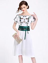 baratos -Mulheres Moda de Rua / Sofisticado Evasê Vestido - Bordado, Animal Altura dos Joelhos