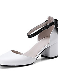 cheap -Women's Shoes Nappa Leather Spring & Summer Basic Pump Heels Chunky Heel Pointed Toe Buckle White / Black / Light Grey