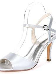 abordables -Femme Chaussures Satin Printemps été D'Orsay & Deux Pièces Sandales Talon Aiguille Bout ouvert Boucle Rouge / Champagne / Ivoire / Mariage / Soirée & Evénement