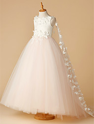 cheap -Ball Gown Floor Length Flower Girl Dress - Lace / Tulle Sleeveless Jewel Neck with Beading / Appliques / Flower by LAN TING BRIDE®