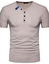 お買い得  -男性用 Tシャツ ベーシック ソリッド