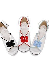 billige -Sød Lolita Klassisk og Traditionel Lolita Prinsesse Lolita Creepers Sko Broderi 5 cm CM Sort / Blå / Rød Til PU Halloween Kostumer