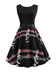 baratos -Mulheres Vintage balanço Vestido Geométrica Altura dos Joelhos