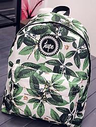 Недорогие -Жен. Мешки холст рюкзак Узоры / принт / Молнии Зеленый