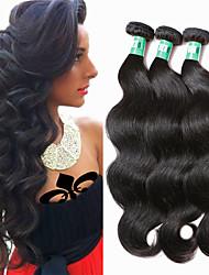 Недорогие -3 Связки Бразильские волосы Естественные кудри Не подвергавшиеся окрашиванию / Натуральные волосы Человека ткет Волосы Ткет человеческих волос Мягкость / Черный Расширения человеческих волос
