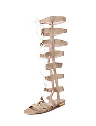 cheap -Women's Shoes Synthetics Spring & Summer Gladiator Sandals Flat Heel Open Toe Black / Brown / Khaki / Party & Evening