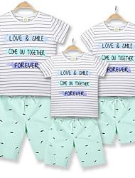 baratos -Olhar de família Listrado Manga Curta Camiseta