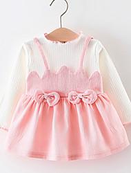 abordables -bébé Fille Mosaïque Manches Longues Robe