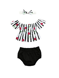 cheap -Baby Girls' Print Short Sleeve Clothing Set