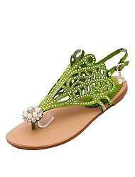 Недорогие -Жен. Обувь Полиуретан Лето Удобная обувь Сандалии На плоской подошве Черный / Лиловый / Зеленый