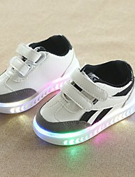 cheap -Boys' Shoes PU(Polyurethane) Spring & Summer Comfort Sneakers Walking Shoes Magic Tape / LED for Toddler White / Black