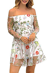 cheap -women's going out a line dress high waist mini boat neck