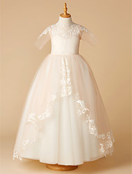 cheap -A-Line Sweep / Brush Train Flower Girl Dress - Tulle Half Sleeve Jewel Neck with Appliques by LAN TING BRIDE®
