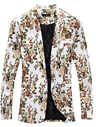cheap -Men's Basic Street chic Blazer-Floral,Print