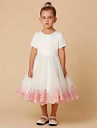 cheap -A-Line Knee Length Flower Girl Dress - Satin / Tulle Short Sleeve Jewel Neck with Beading / Appliques / Bow(s) by LAN TING BRIDE®