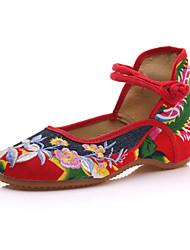 Недорогие -Жен. Обувь Полотно Весна лето / Наступила зима Удобная обувь На плокой подошве На плоской подошве Круглый носок Пряжки Красный