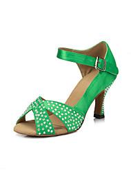 cheap -Women's Latin Shoes Satin Sneaker Crystals Cuban Heel Dance Shoes Yellow / Red / Green