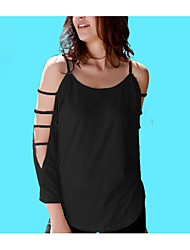 cheap -Women's Basic / Street chic Blouse - Solid Colored Criss-Cross / Lace up