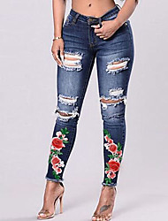cheap -Women's Street chic Skinny Jeans Pants - Floral / Embroidered Hole / Ripped / Denim / Going out / Plus Size / Embroidery