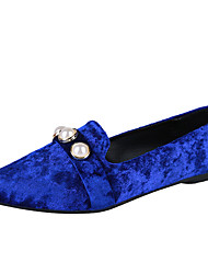 cheap -Women's Shoes Suede Spring & Summer Comfort Flats Walking Shoes Low Heel Pointed Toe Imitation Pearl Black / Blue / Khaki