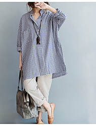 cheap -Women's Beach Plus Size Cotton Loose Shirt - Solid Colored Blue & White Stand