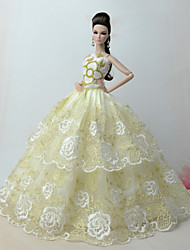 cheap -Dresses Dress For Barbie Doll Light golden Poly / Cotton / Lace Dress For Girl's Doll Toy