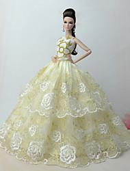 economico -Vestiti Vestito Per Bambola Barbie Oro chiaro Misto cotone / Pizzo Abito Per Ragazza Bambola giocattolo