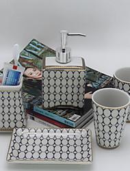 abordables -Set de Accesorios de Baño Nuevo diseño Moderno Cerámica 5pcs - Baño Sencilla