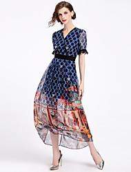 economico -Per donna Vintage / Moda città Chiffon / Swing Vestito - Increspato / Retato / Nappa, Tinta unita / Fantasia geometrica Maxi