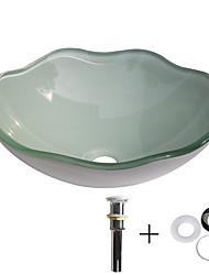 baratos -Pia de Banheiro / Anél de Instalação de Banheiro / Dreno de Banheiro Moderna - Vidro Temperado Redondo