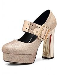 baratos -Mulheres Sapatos Couro Ecológico Primavera Verão Plataforma Básica Saltos Caminhada Salto Robusto Dedo Apontado Laço / Lantejoulas Dourado / Prata