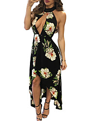 povoljno -žene izlazak tanak plašt haljina visokog struka maxi duboko v