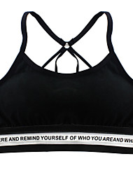 cheap -Sporty Sports Bra Padded Light Support For Yoga / Running - White / Black / Grey Breathability, Softness Women's Solid Colored Cotton, Elastane
