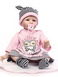 Недорогие -NPKCOLLECTION NPK DOLL Куклы реборн Девочки 24 дюймовый Силикон - Новорожденный Подарок Искусственная имплантация Коричневые глаза Детские Девочки Игрушки Подарок
