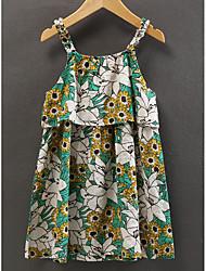 Недорогие -Дети Девочки Тропический лист / Цветок солнца Цветочный принт Без рукавов Платье