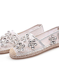 Недорогие -Жен. Обувь Свиная кожа Лето Удобная обувь Мокасины и Свитер На плоской подошве Белый / Черный